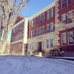 Smith Wright Hall in the snow