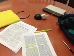 journal articles on a desk
