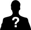 silhouette of a man with a question mark in front